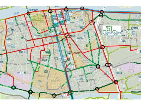 Le coeur de l'agglomération : schéma des 9 itinéraires vélo prioritaires. @CC37, 2015