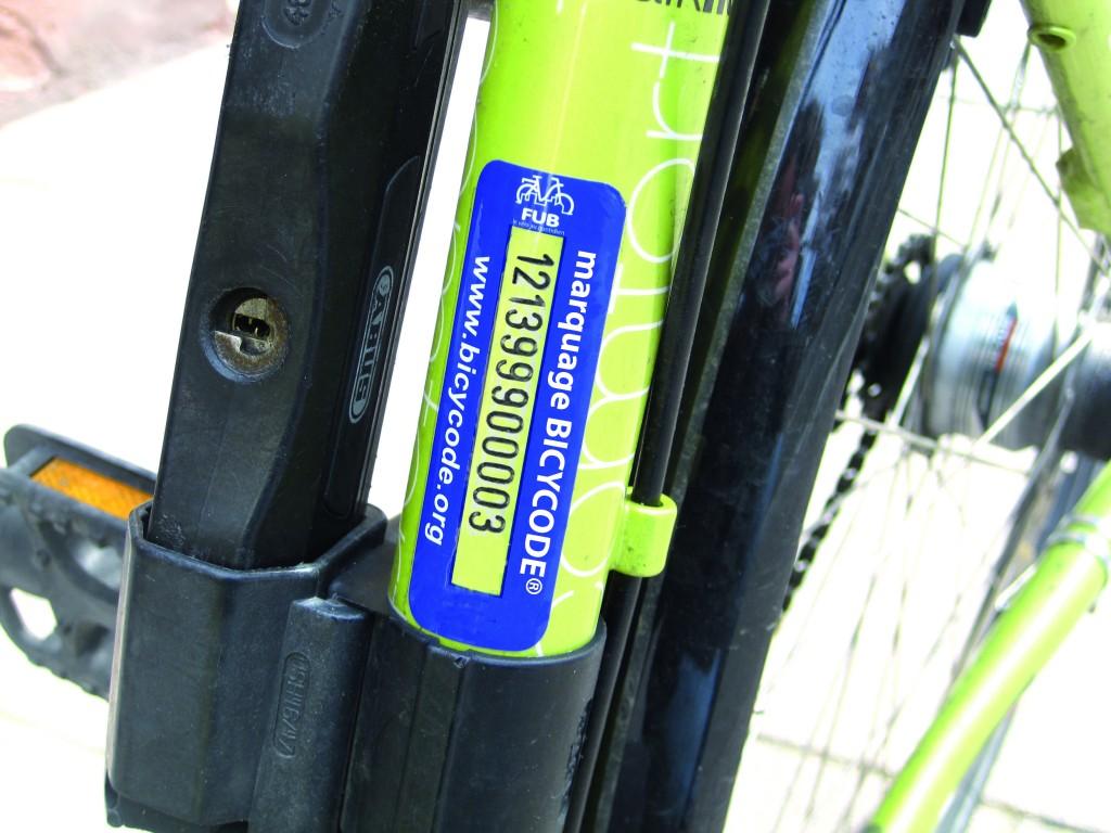 Le marquage Bicycode en image. @FUB