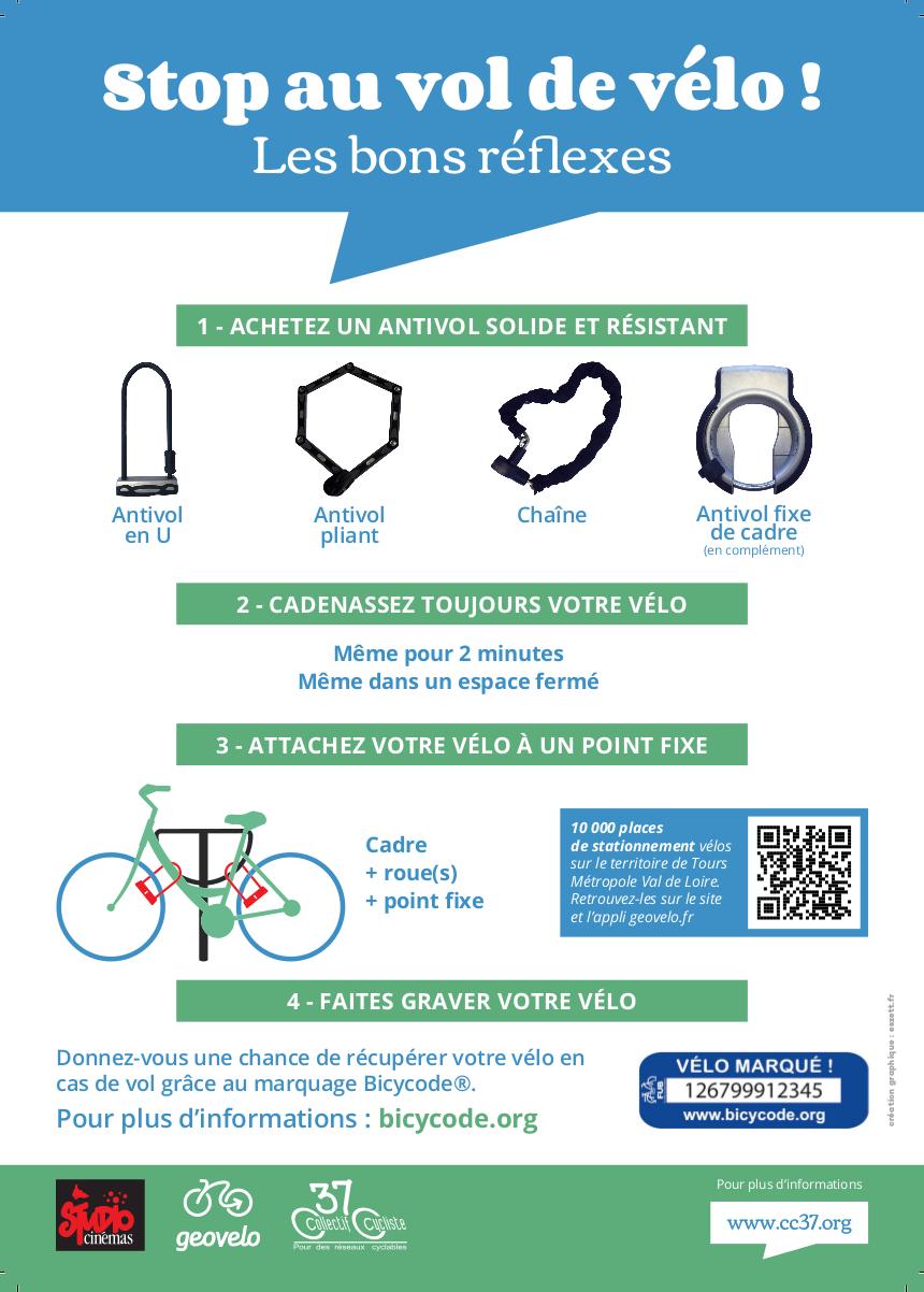"""""""Stop au vol de vélo !"""", l'affiche du Collectif Cycliste 37 qui rappelle les règles d'or de la lutte contre le vol de vélo."""