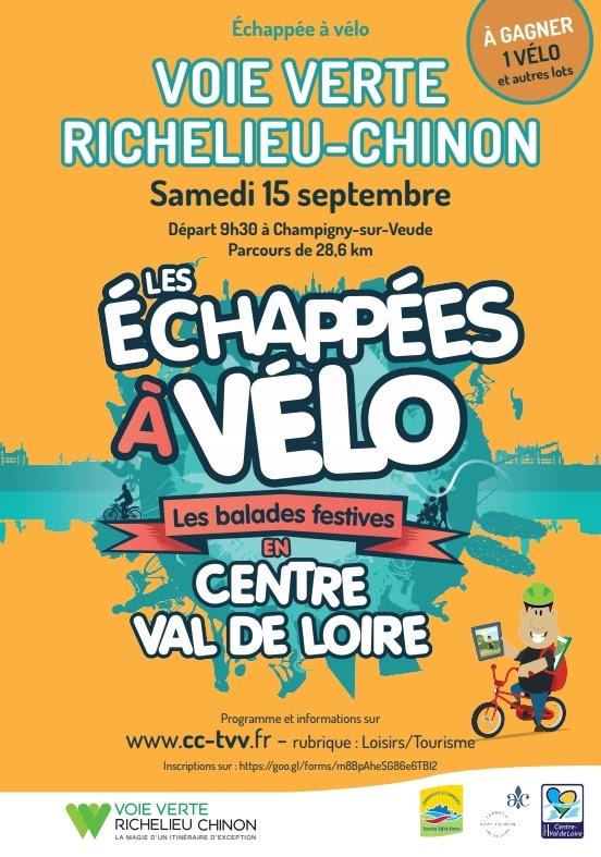 """Affiche officielle de l'échappée à vélo """"Voie verte Richelieu-Chinon"""" du samedi 15 septembre 2018. @ Azay-Chinon Val de Loire Tourisme"""