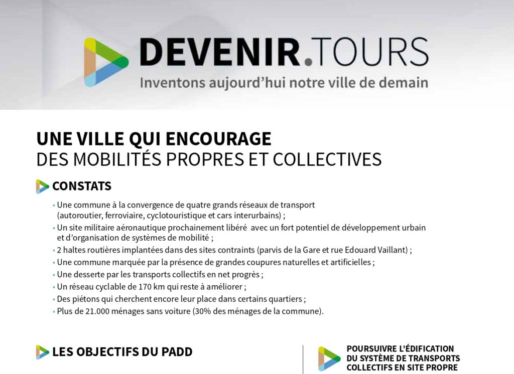 """Fiche """"Une ville qui encourage des mobilités propres et collectives"""". @Ville de Tours."""