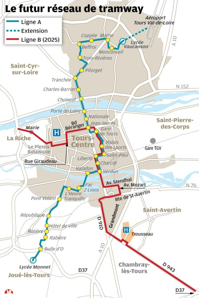 Infographie relative au futur réseau de tramway de l'agglomération tourangelle à échéance 2025. @Nouvelle République, 2018.