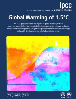 Couverture du rapport spécial du GIEC sur les conséquences d'un réchauffement planétaire de 1,5 °C publié le 8 octobre 2018.