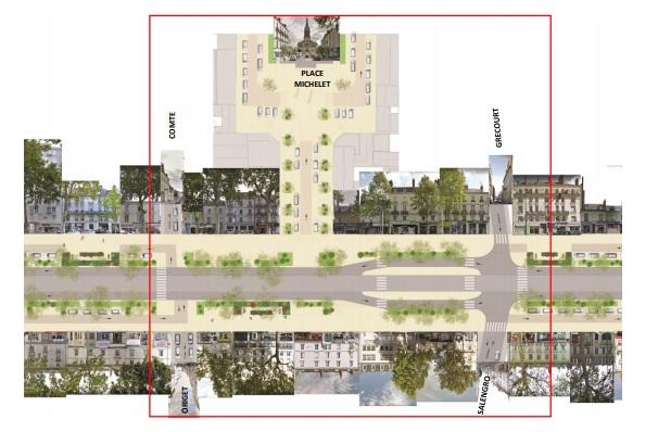 La maquette du projet de requalification de l'avenue de Grammont, avec la circulation centrale maintenue et les côtés dédiés aux circulations douces et sans stationnement. (Documents Ville de Tours)