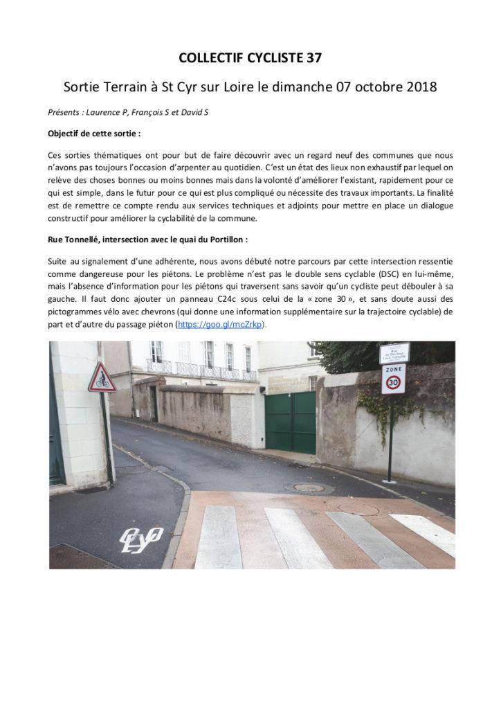 """Converture du document du Collectif Cycliste 37 """"Sortie Terrain à Saint-Cyr-sur-Loire le dimanche 07 octobre 2018"""", 30 p. @CC37"""