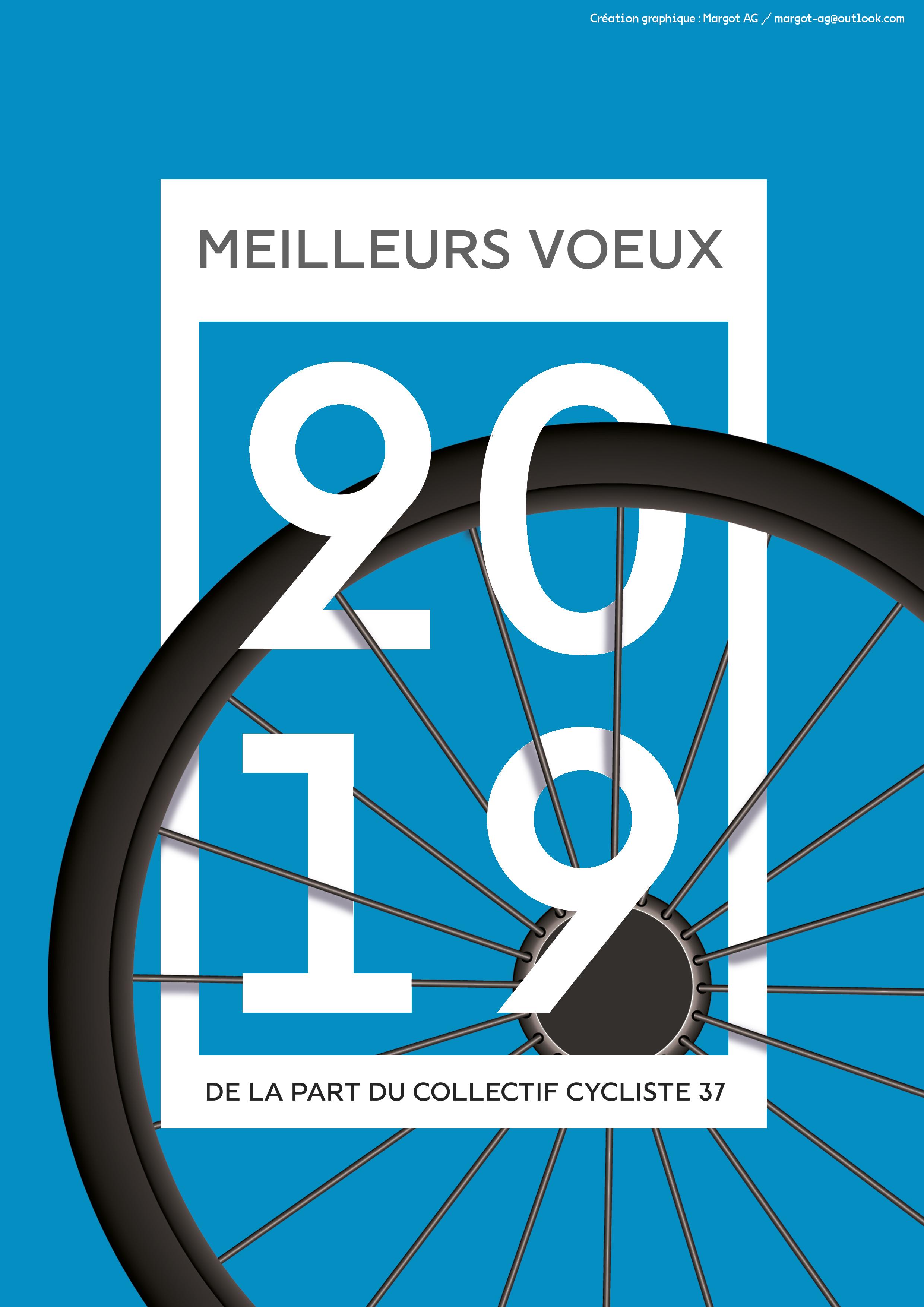 Carte de vœux 2019 du Collectif Cycliste 37 @CC37. Carte réalisée par Margot Audureau-Guillo