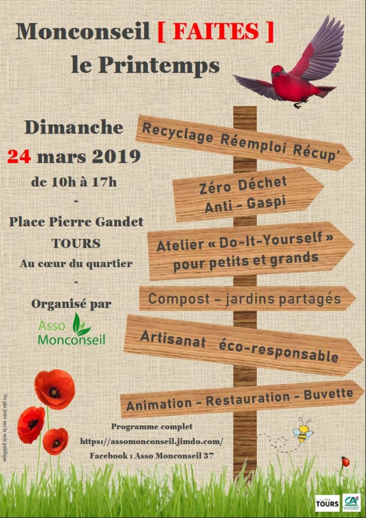 """Flyer officiel de la manifestation """"Monconseil Faites le Printemps"""", dimanche 24 mars 2019 à Monconseil, Tours."""