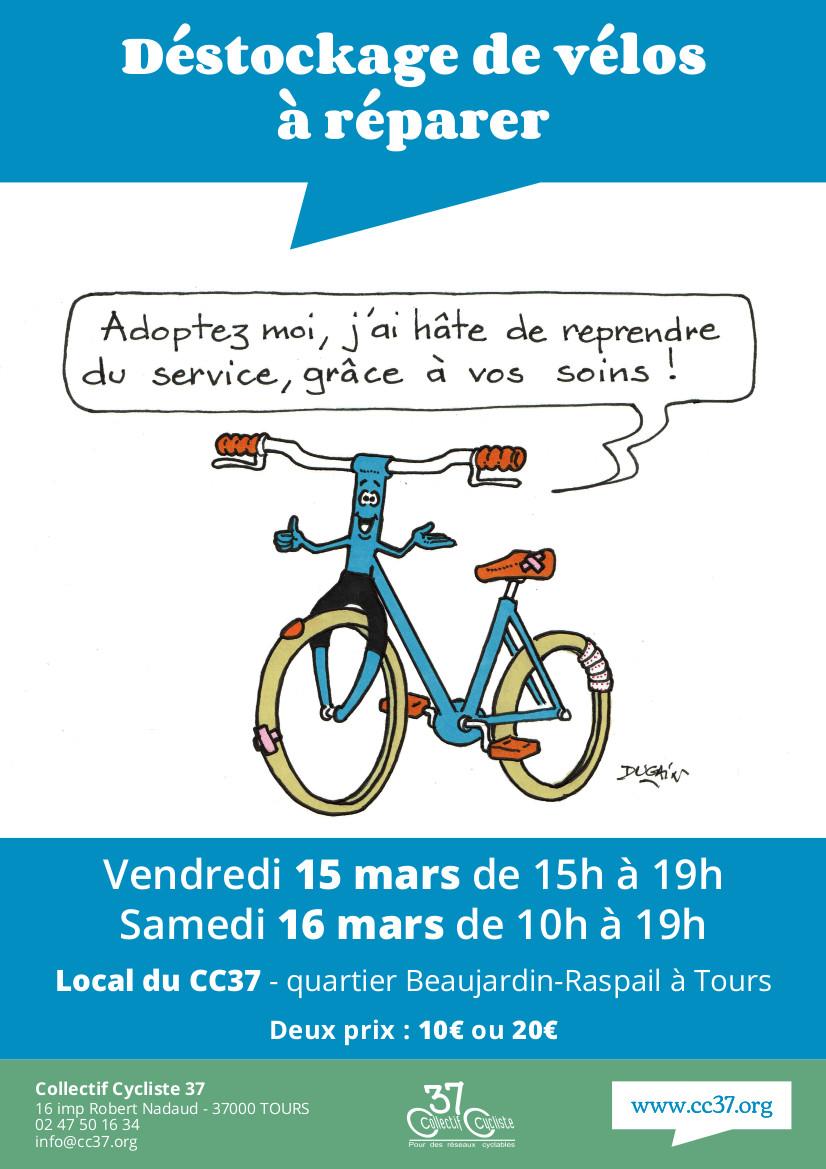 """Affiche de l'opération """"grand déstockage de vélos adultes et enfants """", mars 2019. ©CC37-dessin Joël Dugain"""