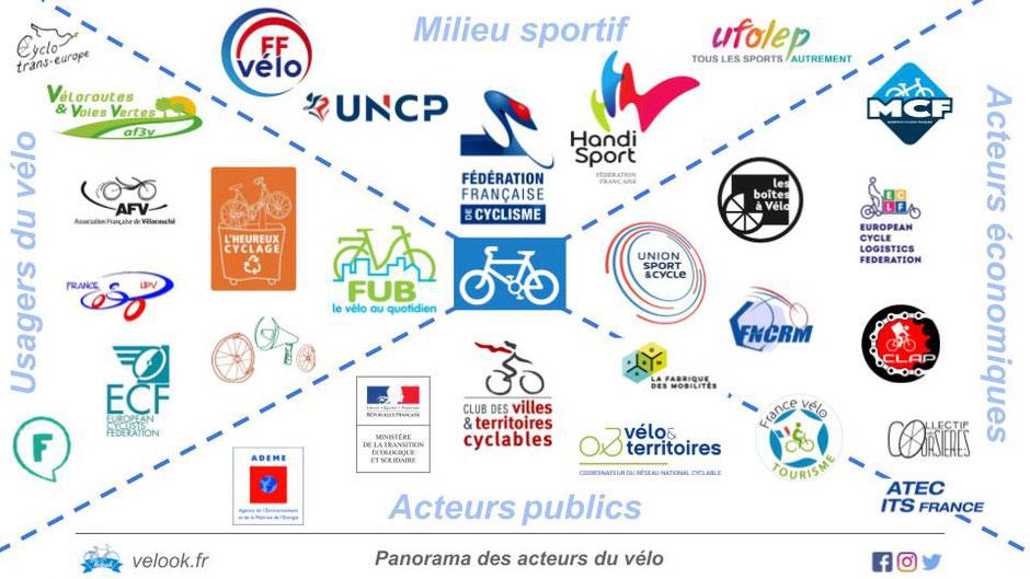 """Infographie """"Panorama des acteurs du vélo en France"""". @Velook, 2019."""