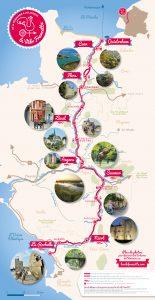 Carte de la Vélo Francette avec vignettes des principaux lieux de passage.