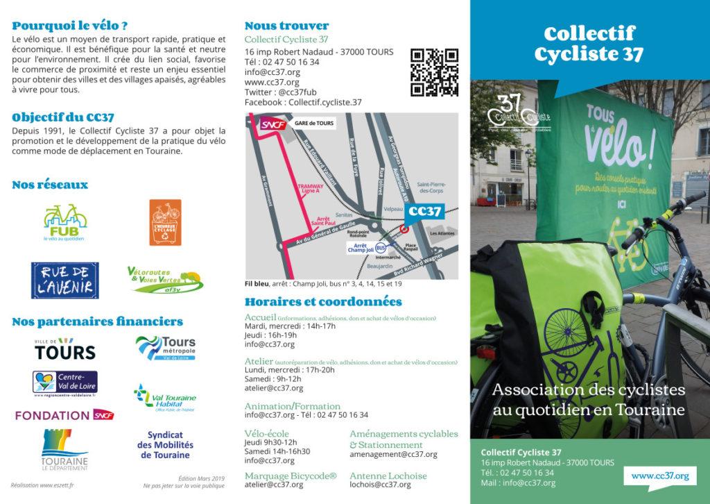 Plaquette du Collectif Cycliste 37 recto, édition mars 2019.