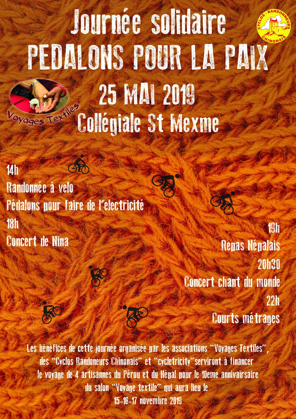 Flyer de la Journée solidaire « Pédalons pour la Paix », qui se déroule le samedi 25 mai 2019 à la Collégiale Saint-Mexme à Chinon