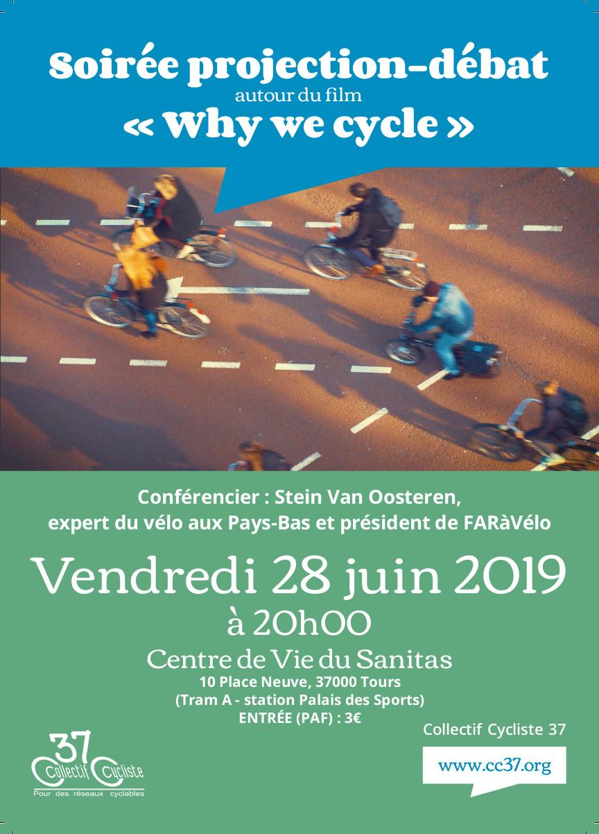 """Affiche de la projection-débat autour du film """"Why we cycle"""", vendredi 28 juin 2019 à Tours, en présence de Stein van Oosteren. @CC37 - réalisation Eszett Studio"""