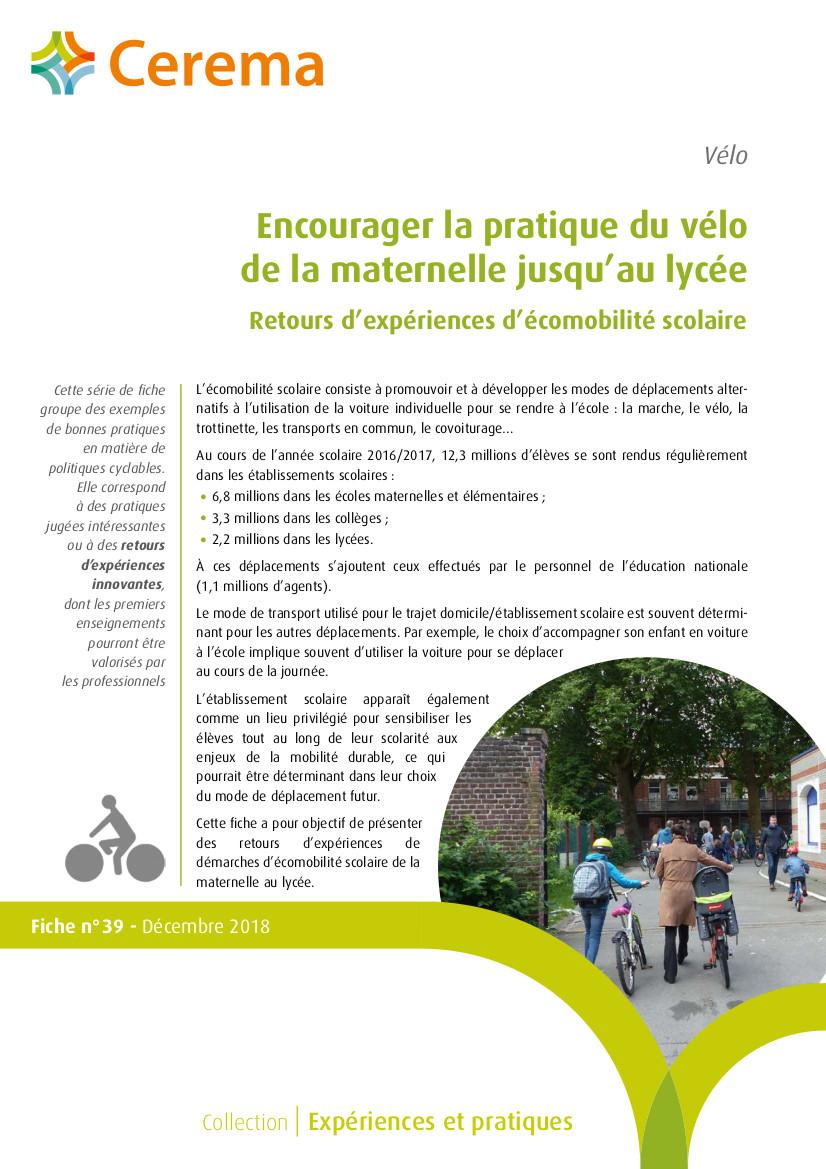 """Couverture de la fiche vélo du CEREMA : """"Encourager la pratique du vélo de la maternelle jusqu'au lycée"""", décembre 2018, 16 p."""