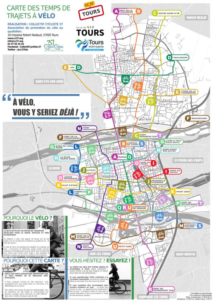Carte des temps de trajets à vélo de la ville de Tours. @Conception et réalisation : Collectif Cycliste 37, avec le soutien du Syndicat des Mobilités de Touraine, 2019.