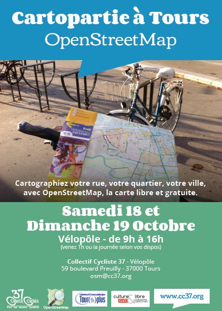 Affiche annonçant la cartopartie Openstreetmap des 18 et 19 octobre 2014 à Tours. @CC37