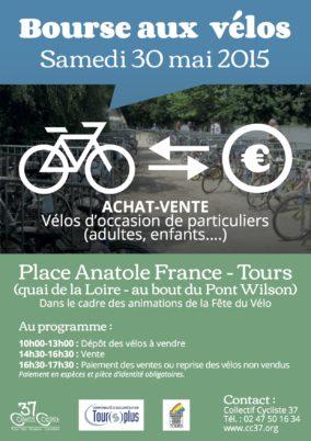 Bourse aux vélos d'occasion : samedi 30 mai 2015, place Anatole France (Tours centre)