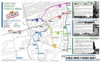 Carte des temps de parcours à vélo à Chambray