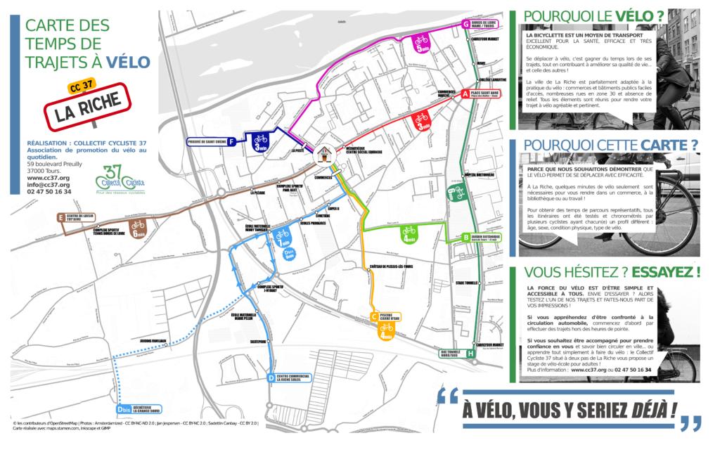 Carte des temps de trajets à vélo sur la commune de La Riche. @CC37, 2015.