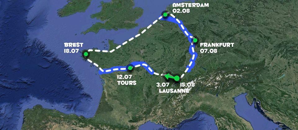 Bike tour summer 2015 trajet