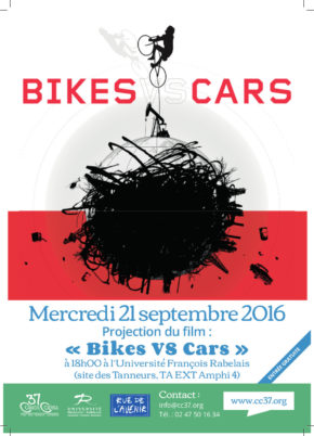 Mercredi 21 septembre 2016 à 18h00 : projection du documentaire» Bikes vs. cars»