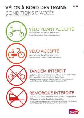 Conditions d'accès des vélos à bord de trains (informations SNCF)