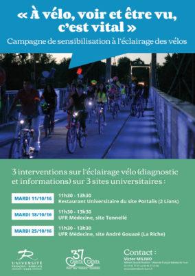 Université François Rabelais : campagne de sensibilisation à l'éclairage des vélos