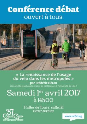 Samedi 1er avril 2017 : conférence-débat de Frédéric Héran, «La renaissance de l'usage du vélo dans les métropoles»