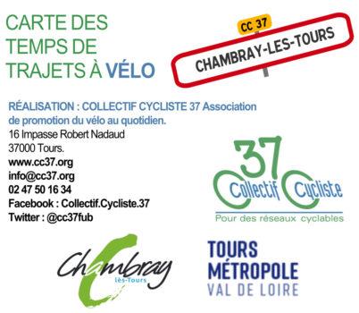 Carte des temps de trajets à vélo à Chambray-lès-Tours