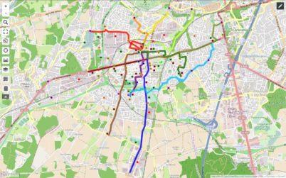 Carte des temps de trajets à vélo à Joué-lès-Tours : à vos chronomètres !