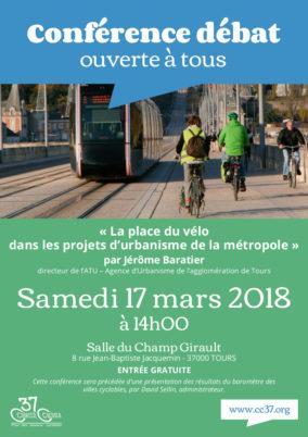 Samedi 17 mars 2018 : conférence-débat de Jérôme Baratier, « Quelle(s) place(s) pour le vélo dans les projets d'urbanisme de la métropole ? »