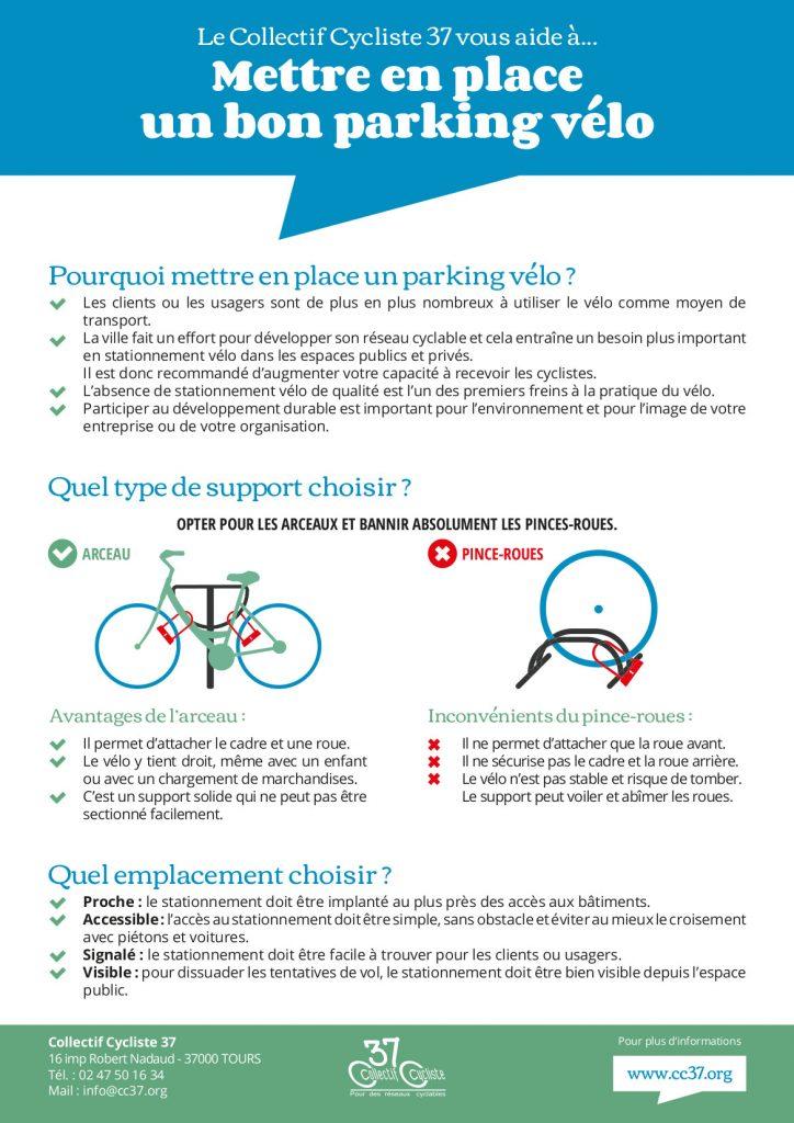"""Affiche du Collectif Cycliste 37 """"Mettre en place un bon parking vélo"""". @CC37, juin 2018."""