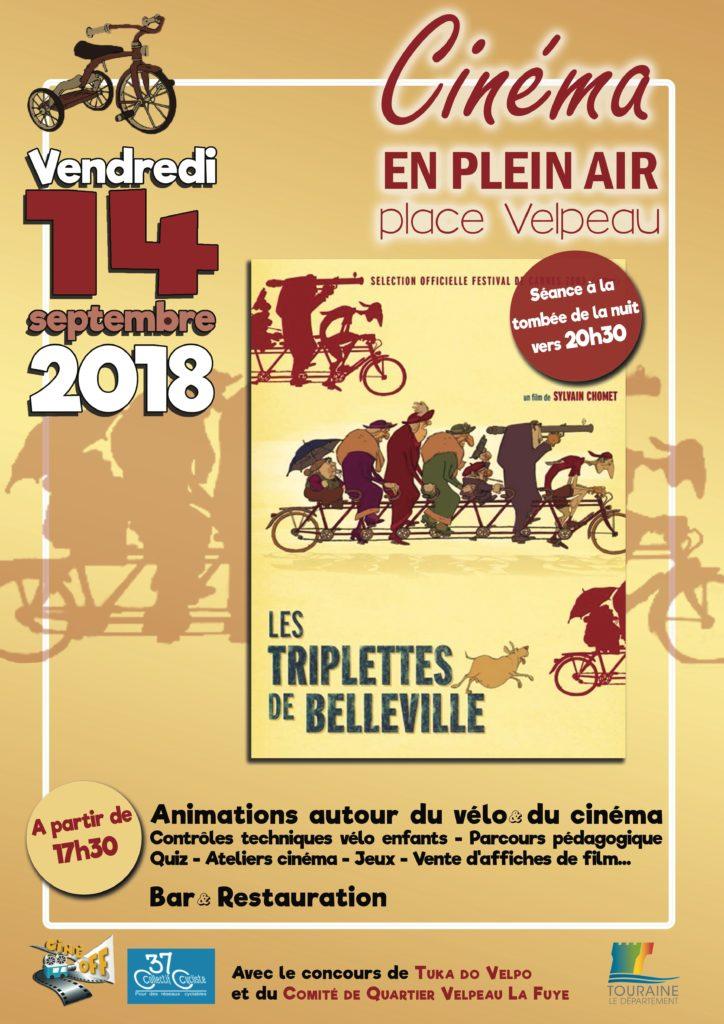 """Affiche officielle de l'évènement """"Cinéma en plein air place Velpeau"""" le vendredi 14 septembre 2018."""