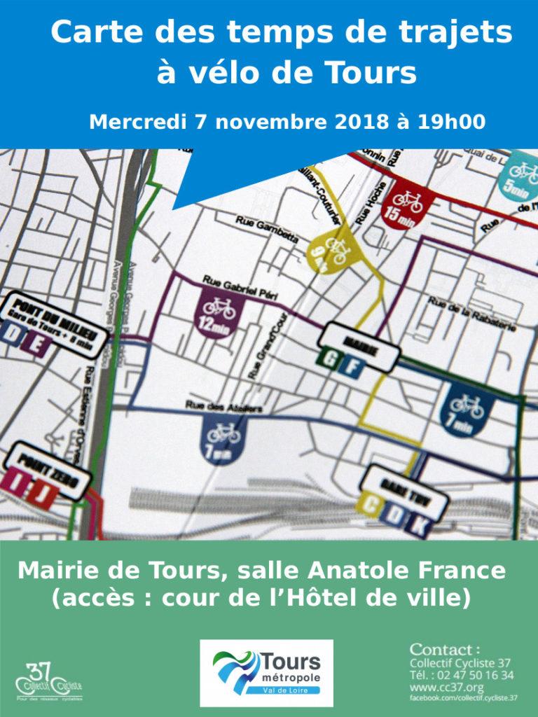 Affiche de la réunion de lancement du projet de réalisation d'une carte des temps de trajets à vélo à Tours. @CC37