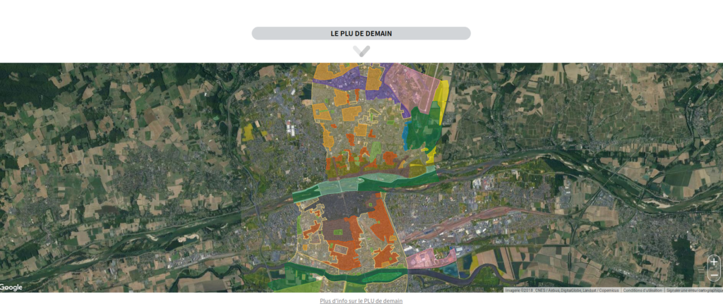 """Le territoire de la commune de Tours est divisé en plusieurs zones mentionnées dans le règlement et traduites sous forme d'un document graphique : les zones urbaines, dites « zones U », les zones à urbaniser, dites « zones AU », les zones non constructibles (""""zones A"""" et """"zones N"""") et les zones de réserves (""""zones IAU"""" et """"zones IIAU"""") ."""