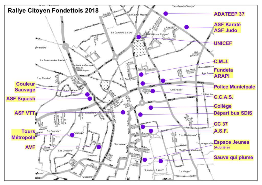 Implantation des différents stands lors de l'édition 2018 du Rallye citoyen fondettois. @Ville de Fondettes