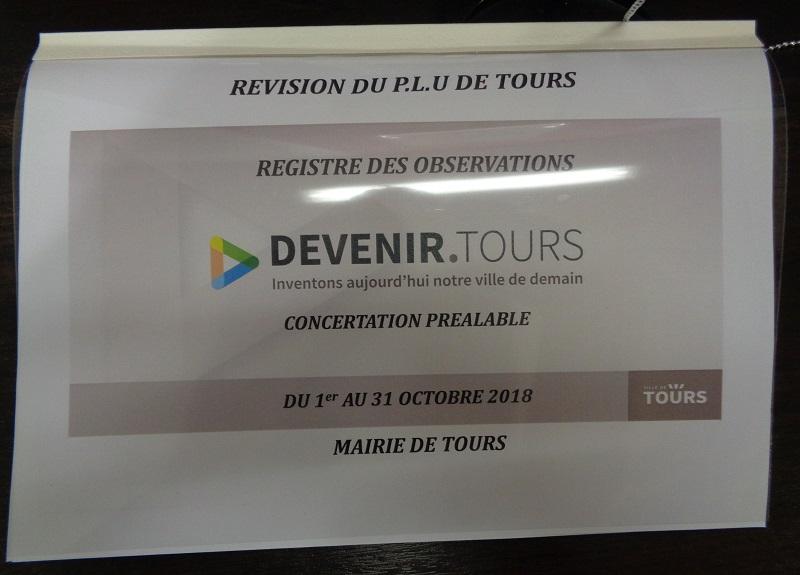 Registre des observations situé à la Mairie de Tours dans le cadre de la révision du PLU. @CC37