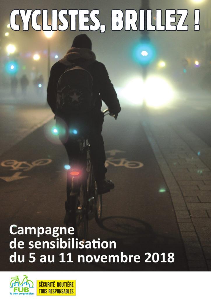 """Affiche officielle de la campagne nationale FUB """"Cyclistes, brillez !""""."""