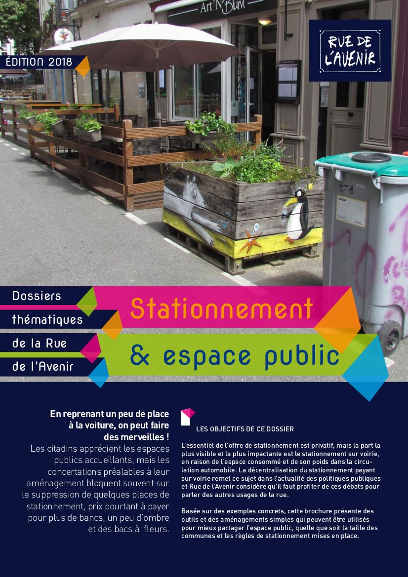 """Couverture de la publication """"Stationnement et espace public"""" de Rue de l'avenir, 2018."""