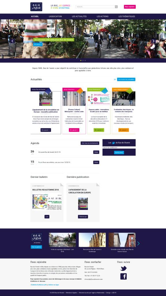 Page d'accueil du nouveau site web de l'association Rue de l'Avenir.
