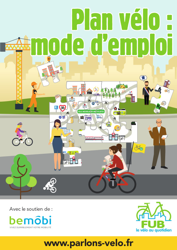 """Couverture du guide FUB """"Plan vélo, mode d'emploi"""" , 2018. @FUB"""