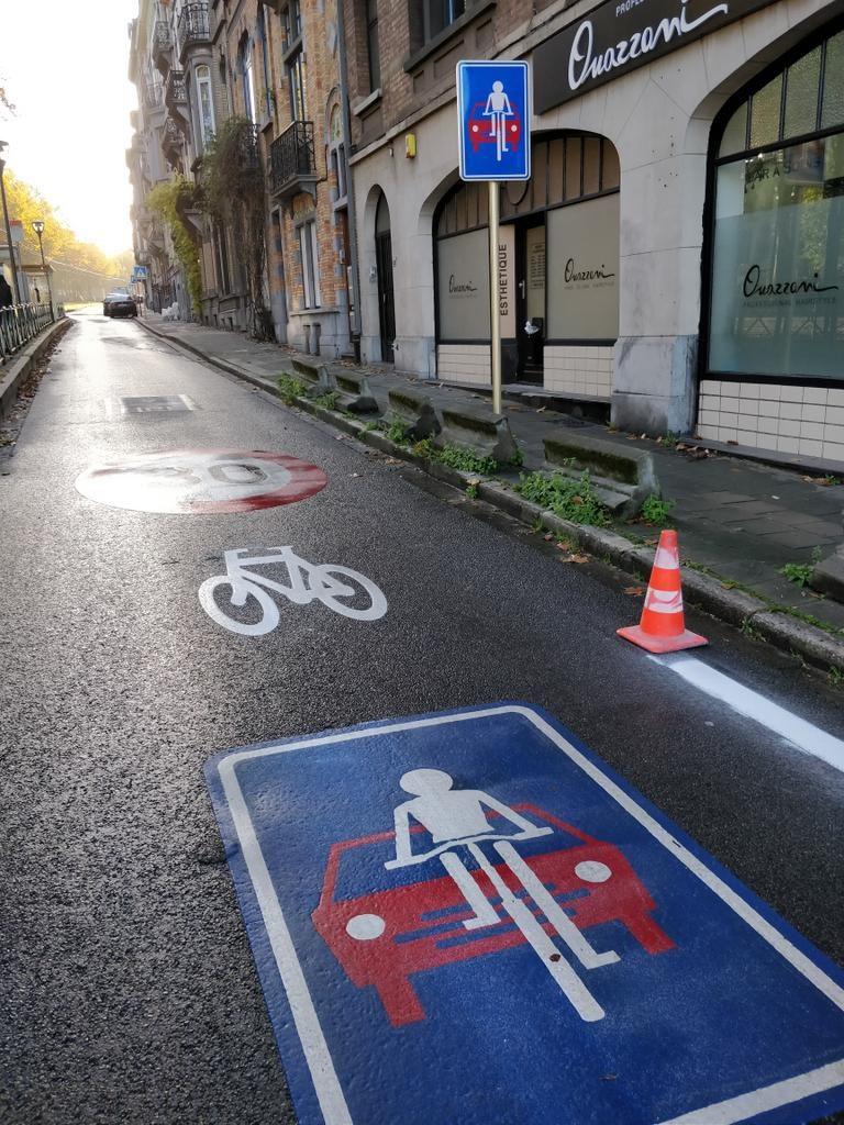 La rue cyclable du boulevard Lambermont en cours de réalisation à Schaerbeek, Bruxelles le 8 novembre 2018. @Laurent Pirotte