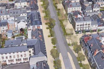 La maquette du projet de requali�cation de l'avenue de Grammont, avec la circulation centrale maintenue et les côtés dédiés aux circulations douces et sans stationnement. (Documents Ville de Tours)