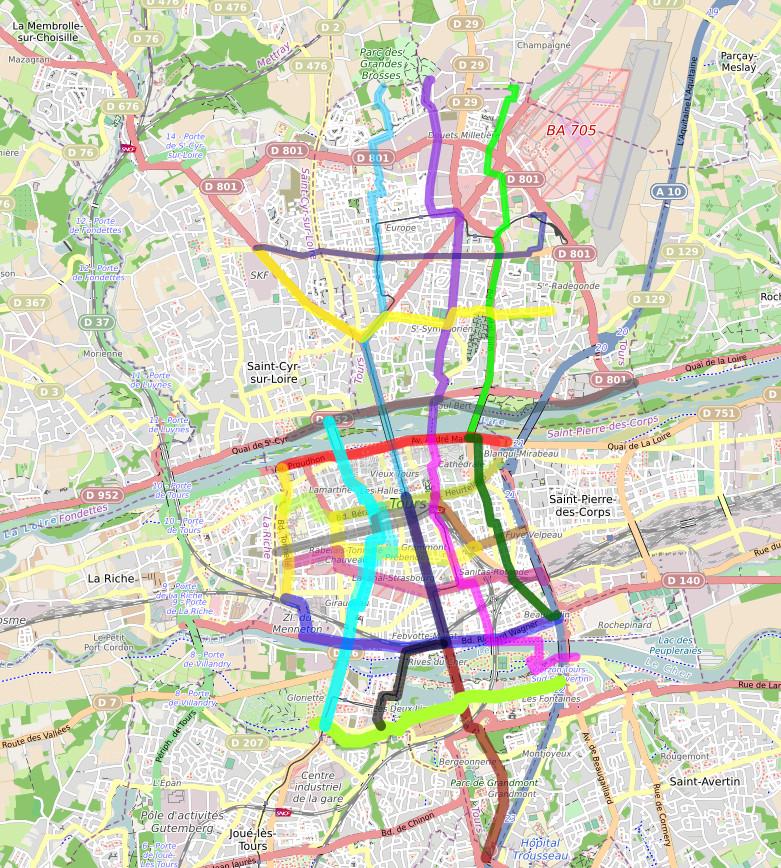 Vue globale des 21 lignes de la future carte des temps de trajets à Tours.
