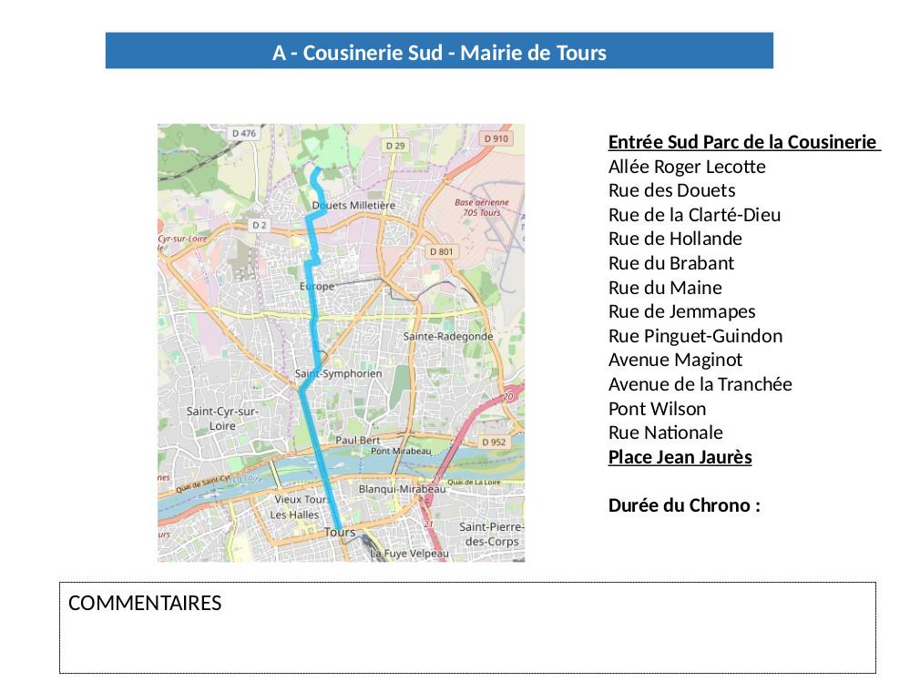 Fiche de la ligne A de la future carte des temps de trajets à Tours
