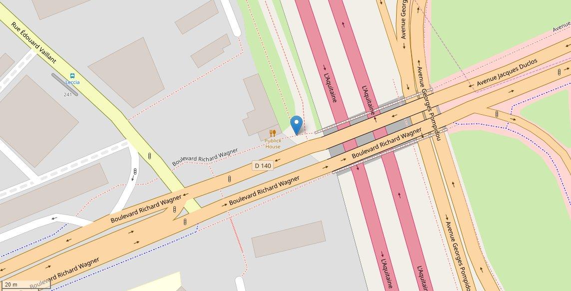 Localisation de la nouvelle rampe reliant les quartiers Beaujardin-Raspail à Rochepinard.Rochepinard.