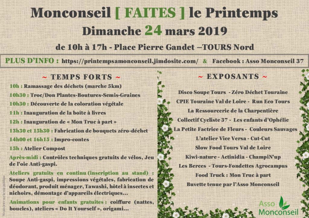 Programme de Monconseil Faites le Printemps, dimanche 24 mars 2019 à Tours nord.