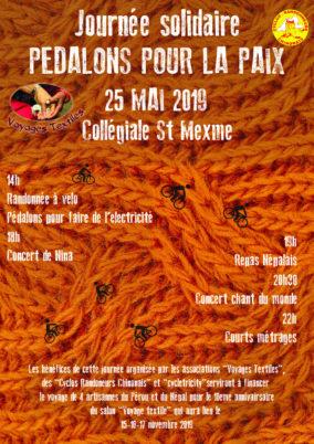 Journée solidaire « Pédalons pour la Paix », samedi 25 mai 2019 à Chinon