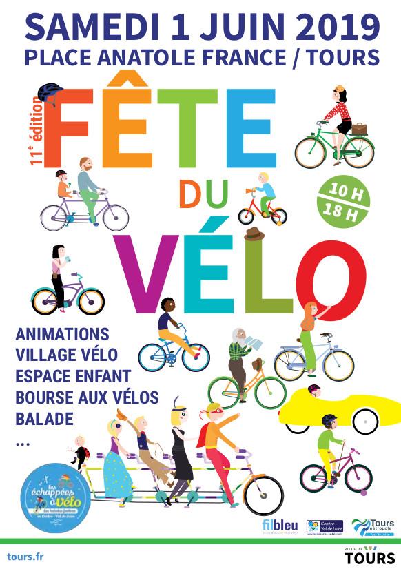 Tract de la Fête du vélo du samedi 1er juin 2019 à Tours, place Anatole France.
