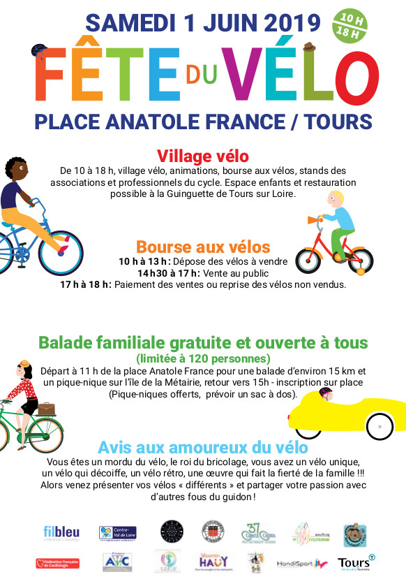 Verso du tract de la Fête du vélo du samedi 1er juin 2019 à Tours, place Anatole France.